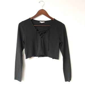 Nation LTD. Midnight Crop Lace Up Long Sleeve Tee